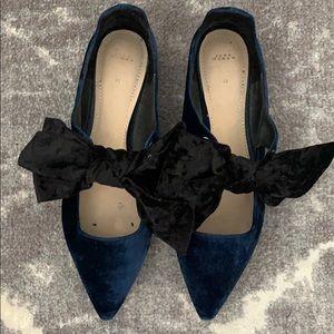Zara Velvet Bow Pointed Flats